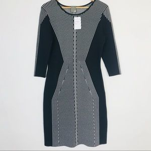 Taylor black Striped 3/4 Sleeve Sweater Dress NWT!
